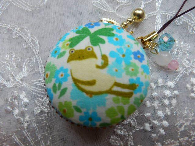 小型 幸せの花かえるマカロン(天然石の...