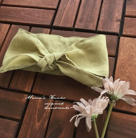 保冷剤 スカーフ リネン 黄緑 エコ ♪