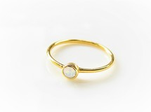 Swarovski Crystal White Opal Simple Gold Ring