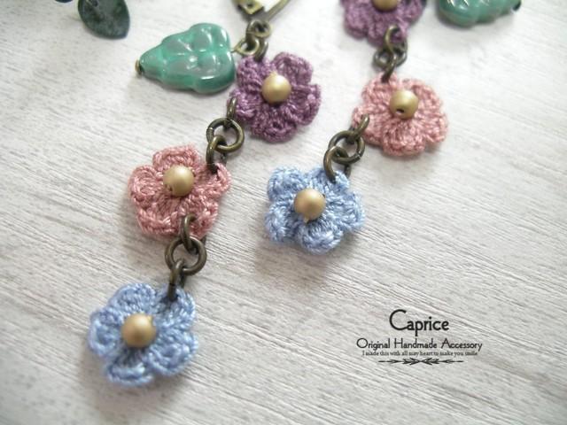 手編み小花モチーフのピアス パープル×ピンク×ブルー