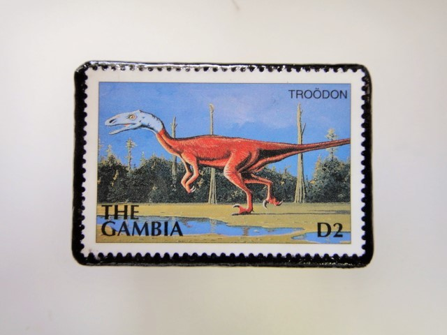 ガンビア 恐竜切手ブローチ 2734