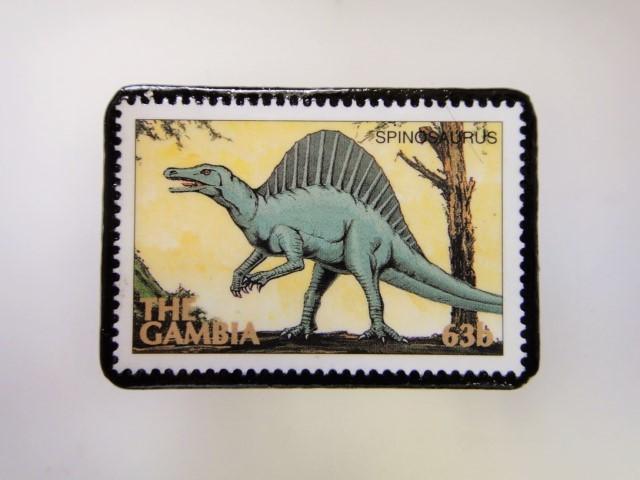 ガンビア 恐竜切手ブローチ 2735