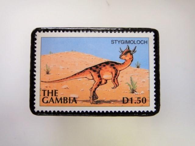 ガンビア 恐竜切手ブローチ 2736