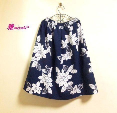 涼やか椿柄ふんわり浴衣スカート