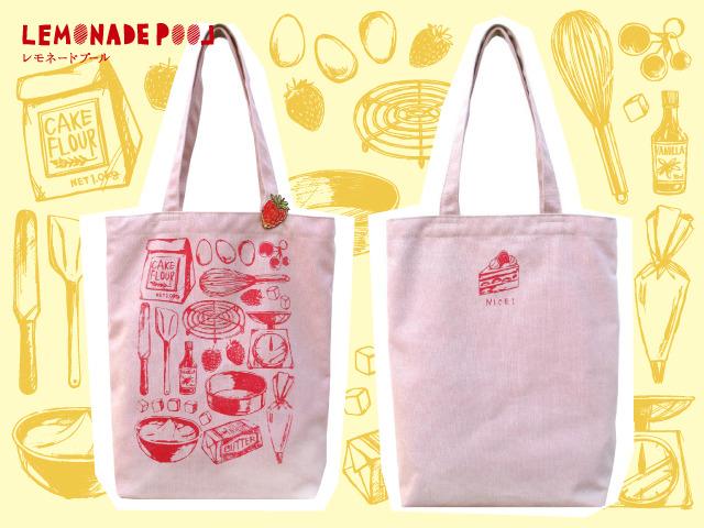 イチゴブローチつき★ケーキを作ろう!トートバッグ/ピンク