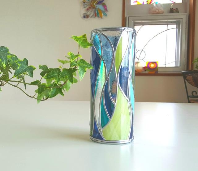 GlassArt☆ガラス円形花瓶『セノーテ』