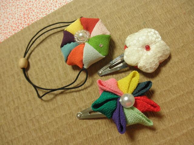 和の髪飾り(まり・かざぐるま・和菓子)