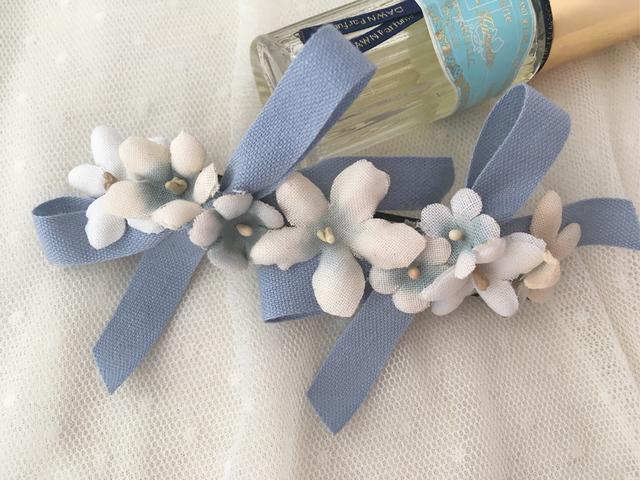 バレリーナバレッタ blue&white