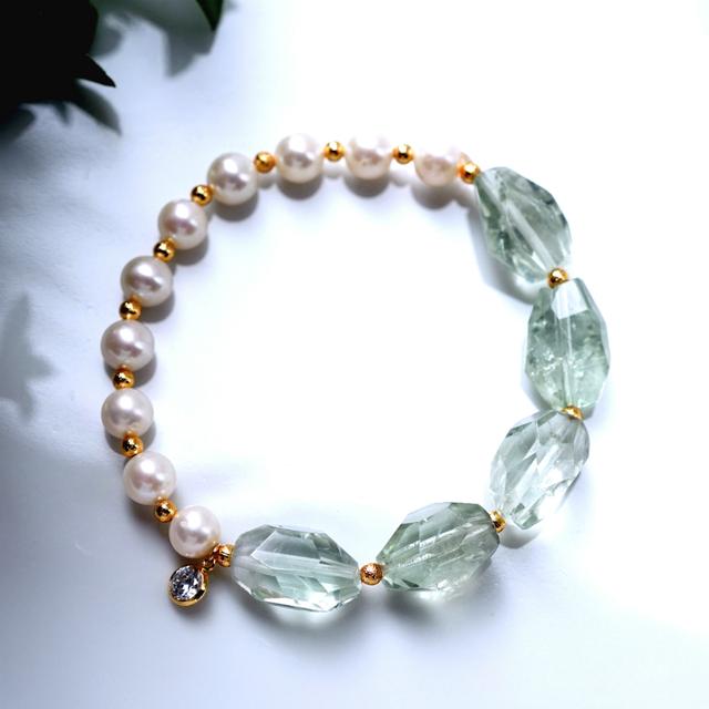 真珠とグリーンアメジストのブレスレッ...
