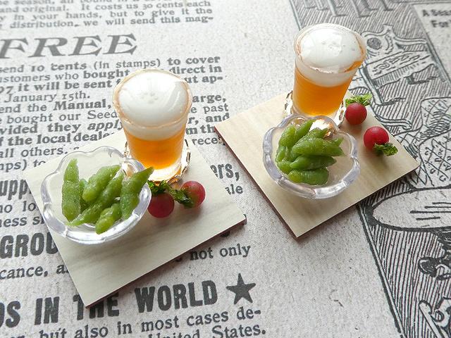 ミニチュア ビールと枝豆