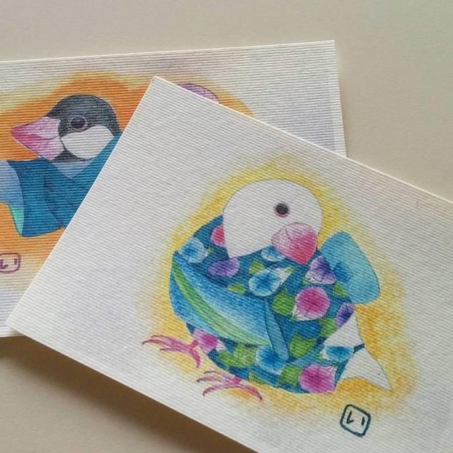浴衣文鳥 ポストカードセット 二枚組