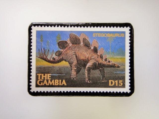 ガンビア 恐竜切手ブローチ 2741