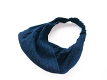 ◇◆indigo 40/-linen hairband_border×plain