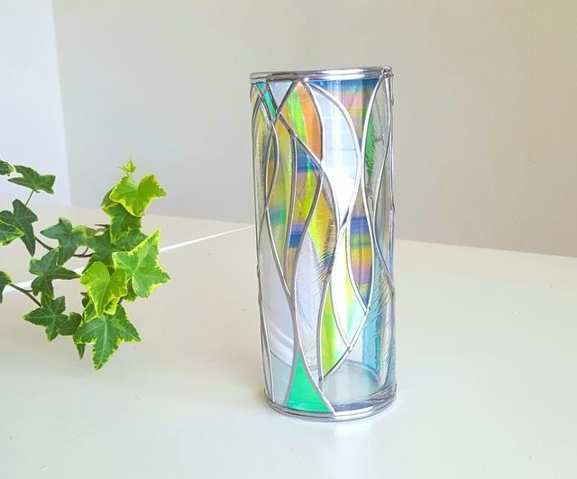 GlassArt☆ガラス円形花瓶『光のシャワー』