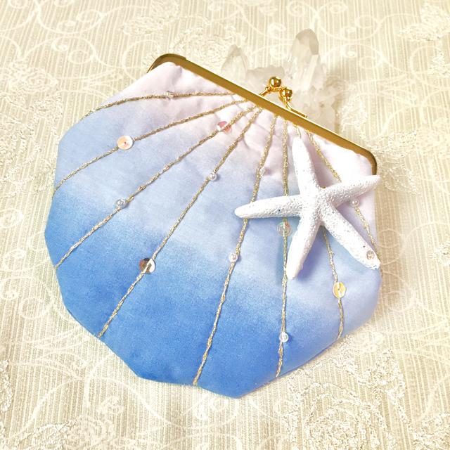 再販2 貝殻がま口ポーチ ホワイトブルー