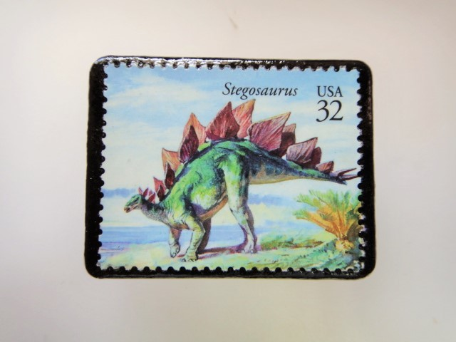 アメリカ 恐竜切手ブローチ 2746