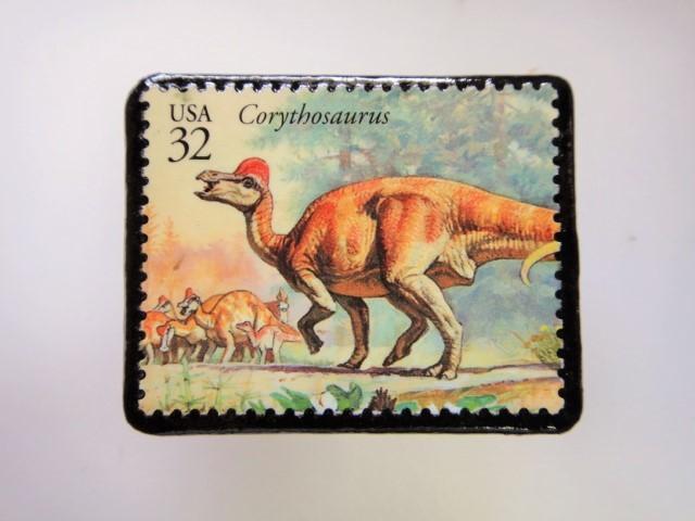 アメリカ 恐竜切手ブローチ 2750