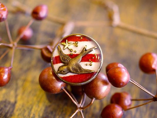 燕の指輪(赤縞)