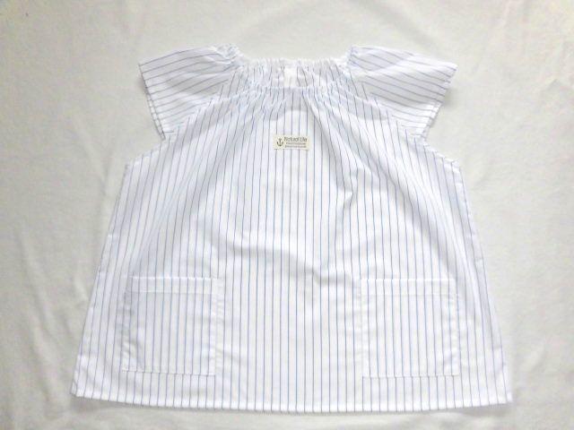 半袖スモック・120〜130/紺細ストライ...