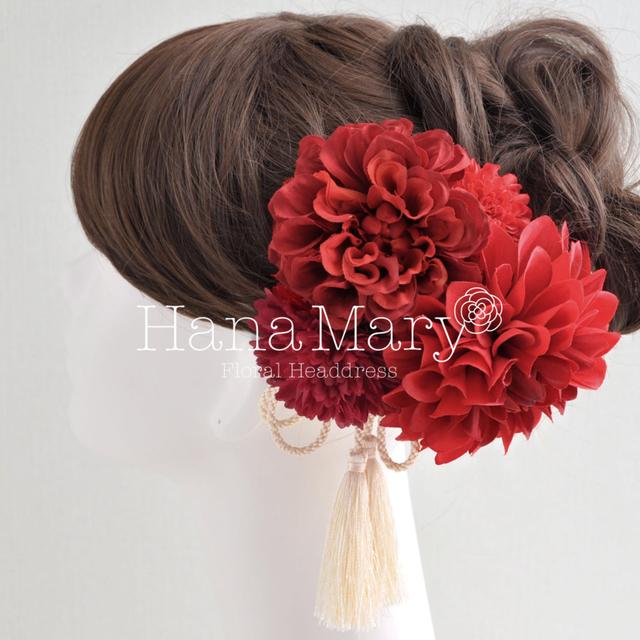 真っ赤な 髪飾り