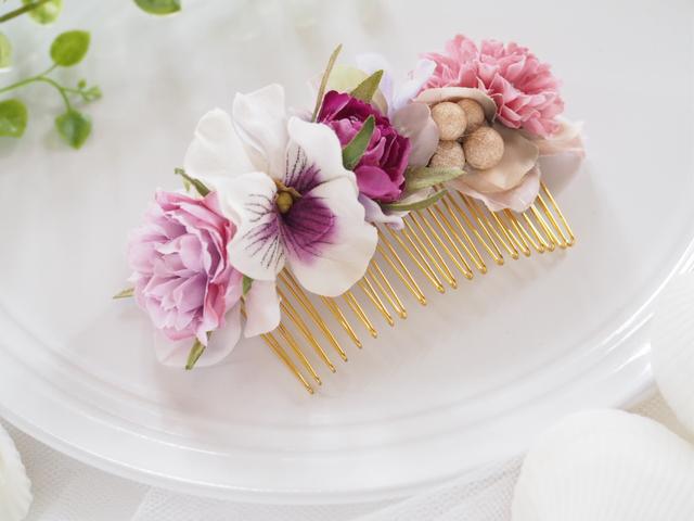 お花のヘアコーム purple