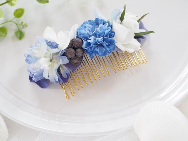 お花のヘアコーム blue