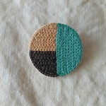 3color circle brooch / sea blue, beige, charcoal gray