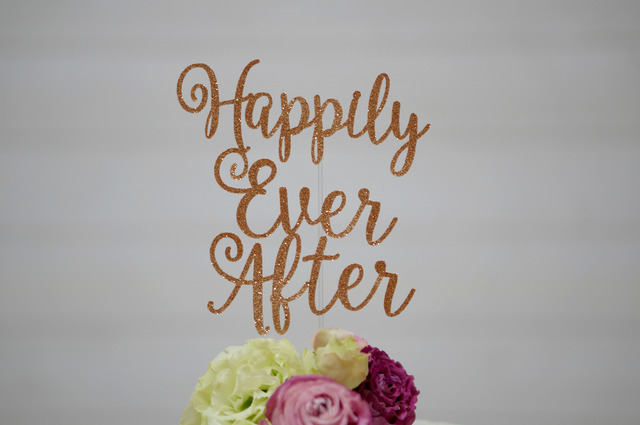 happily ever after ケーキトッパー ウェディング 2 ハンドメイド