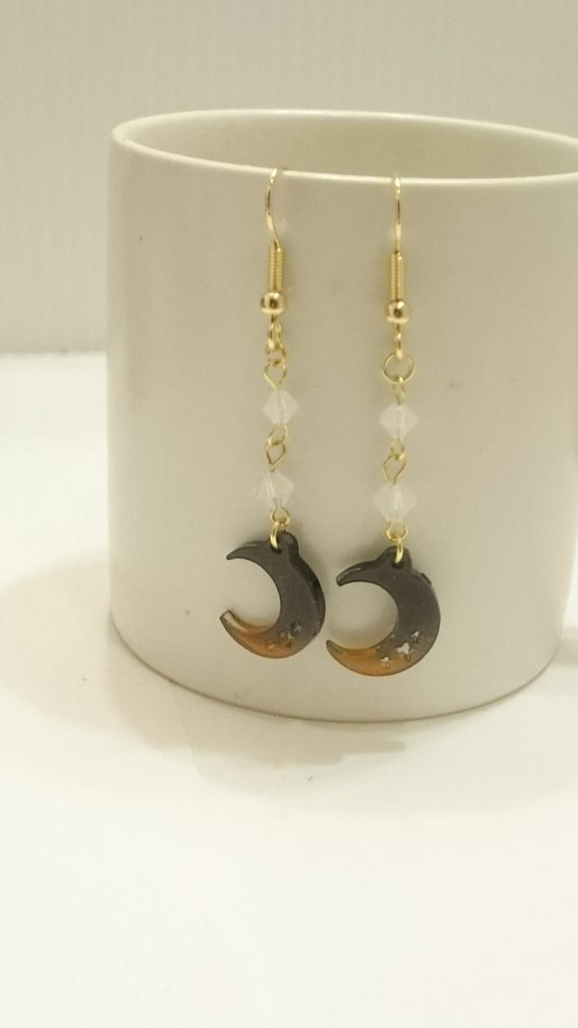 夜空と月のピアス(オレンジグラデーション)