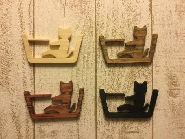 木製ネコ型バスルームサイン☆バスルー...