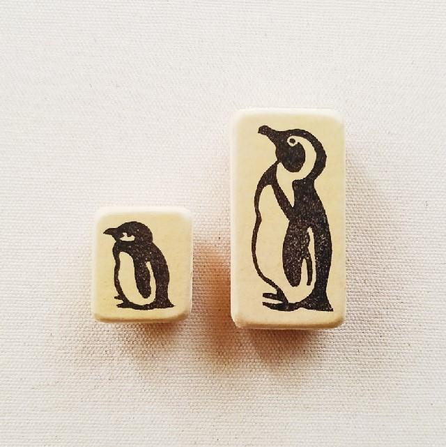 ゴム版はんこセット《ケープペンギンの親子》