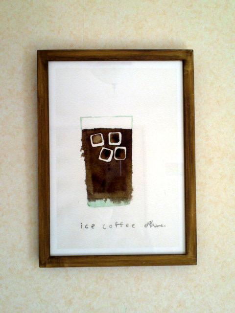 ゆる絵 ice coffee A4 + 額