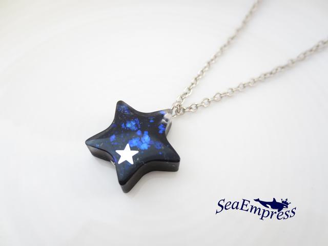 青の煌めきと星ネックレス(シルバー)
