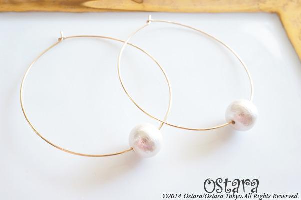 ��14KGF��Ha��mered Hoop Earrings,White Cotton Pearl