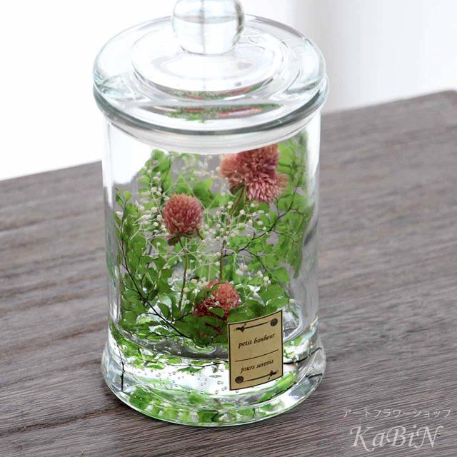 千日紅とかすみ草の保存瓶アレンジ M0201