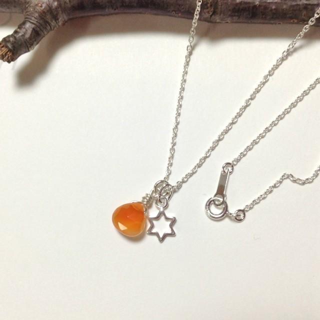 SV925カーネリアンと六光星のネックレス...