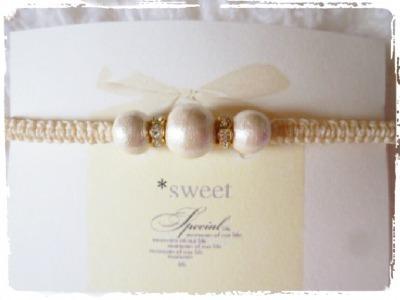 【再販】コットンパールとロンデルの編みブレスレット/white snow