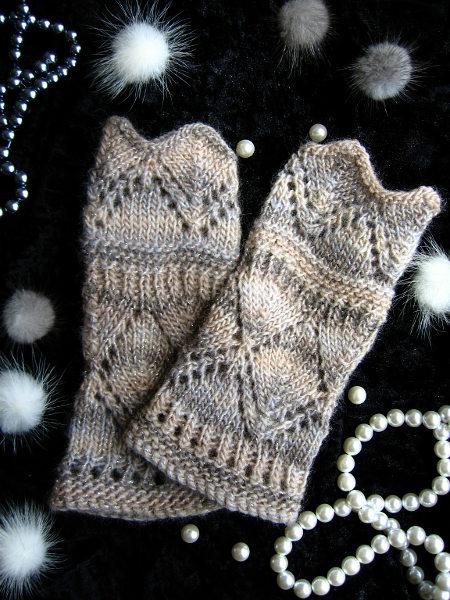 ハンドウォーマー 透かし編み