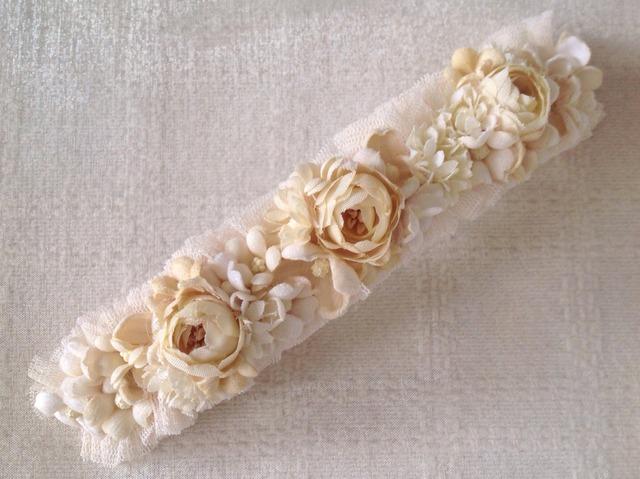 染め花のスリムロングバレッタ(オフホワイト)