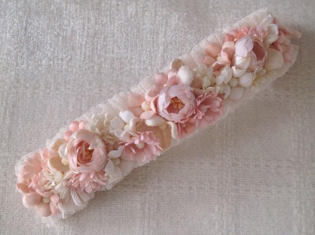 染め花のスリムロングバレッタ(ピンク)
