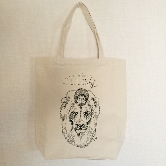 ハリネズミとライオンのトートバッグ