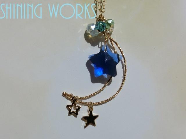 青い星と月のネックレス 〜blue star〜