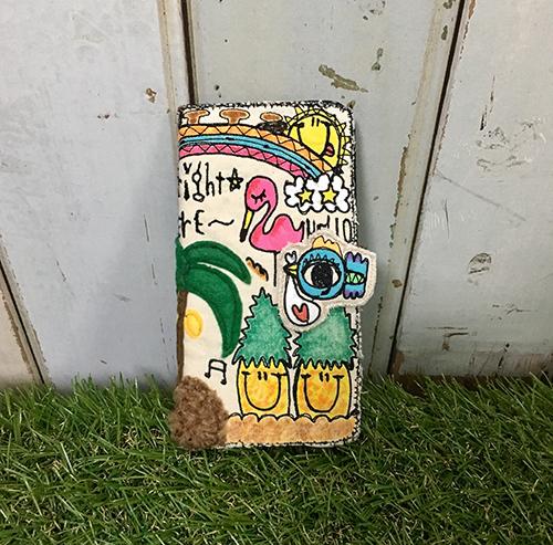 ハワイアンコウノトリ刺繍スマホケース...