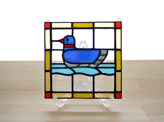 ステンドグラスパネル 水鳥 Mサイズ