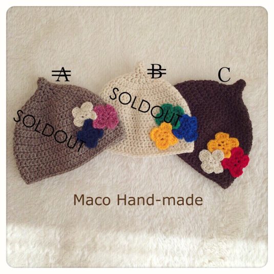 SALE☆〈送料無料〉お花モチーフのどんぐり帽子(小人帽子)