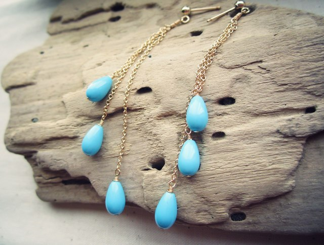14KGF Turquoise Chain Link Studs Pier...