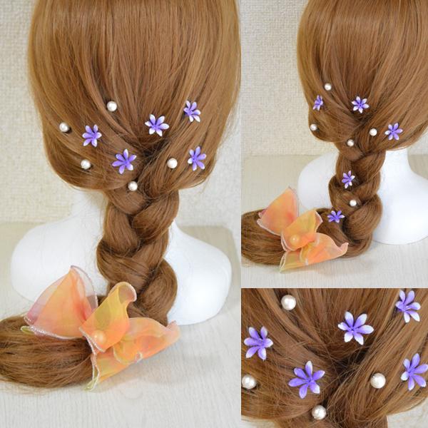 パールと小花の和風髪飾り