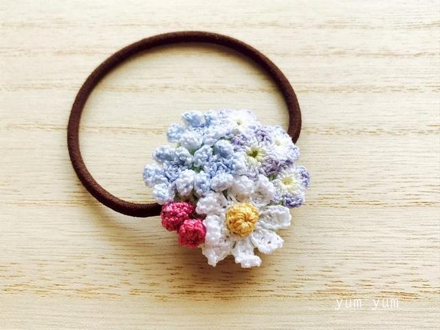 草花のブーケヘアゴム3