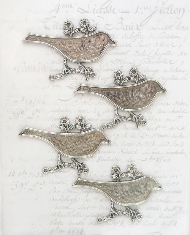 鳥のセッティング4個 ≪銀古美≫