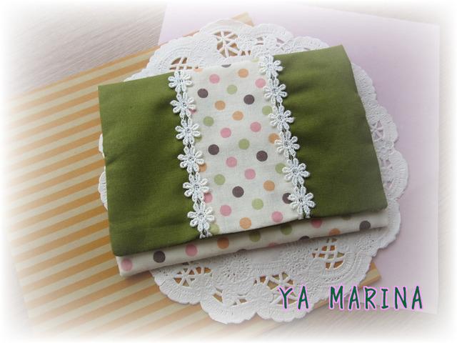 2つ折りティッシュケース 緑×カラフル...
